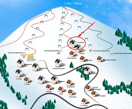 Схема горнолыжных трасс и